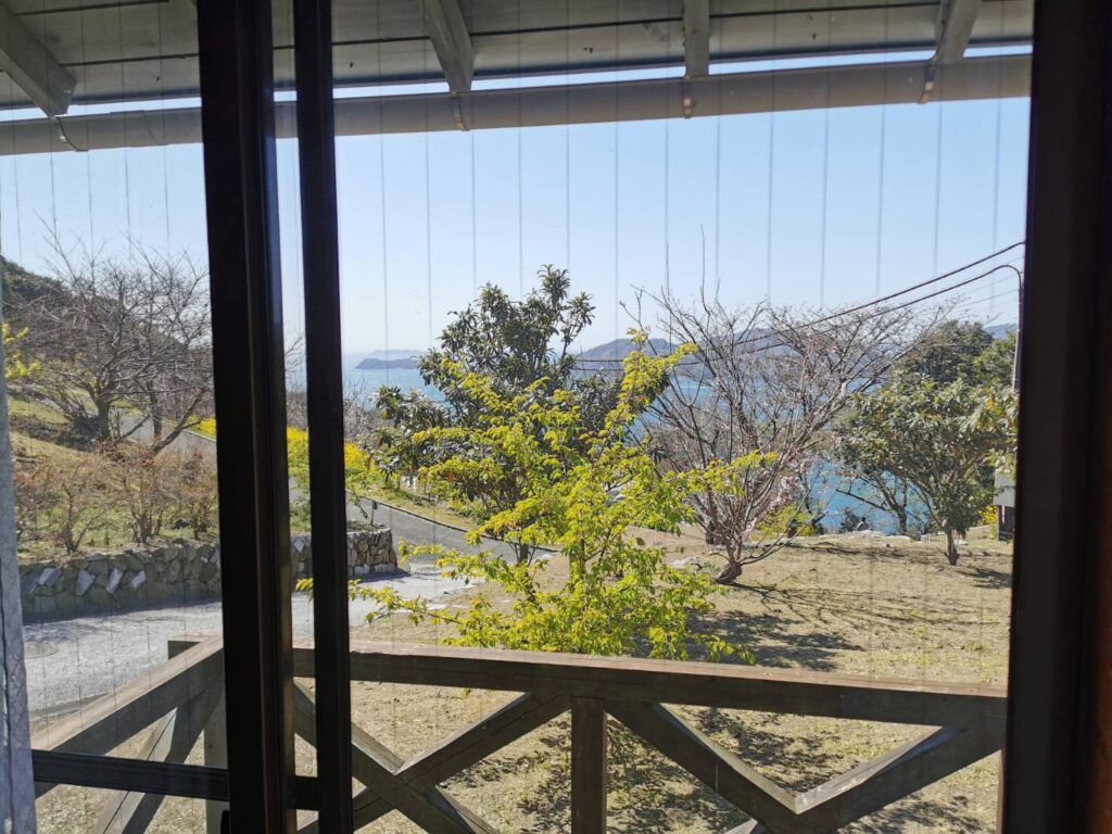 笠戸島家族旅行村のケビンのベランダからの風景