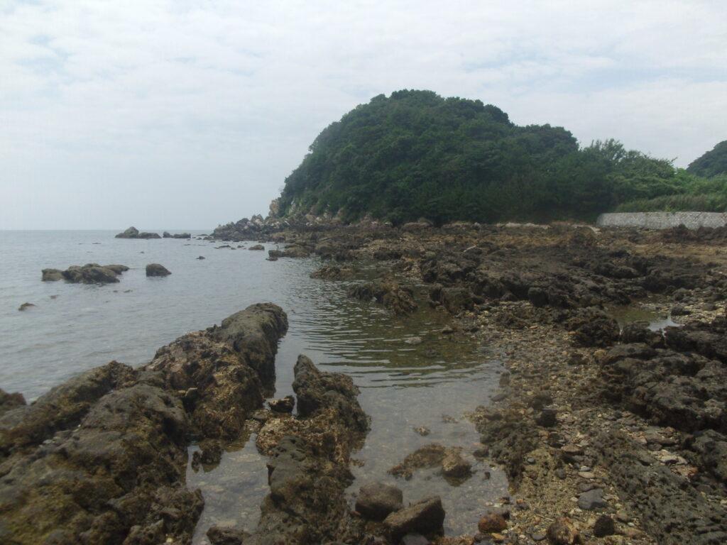 海を散歩、岩が面白い