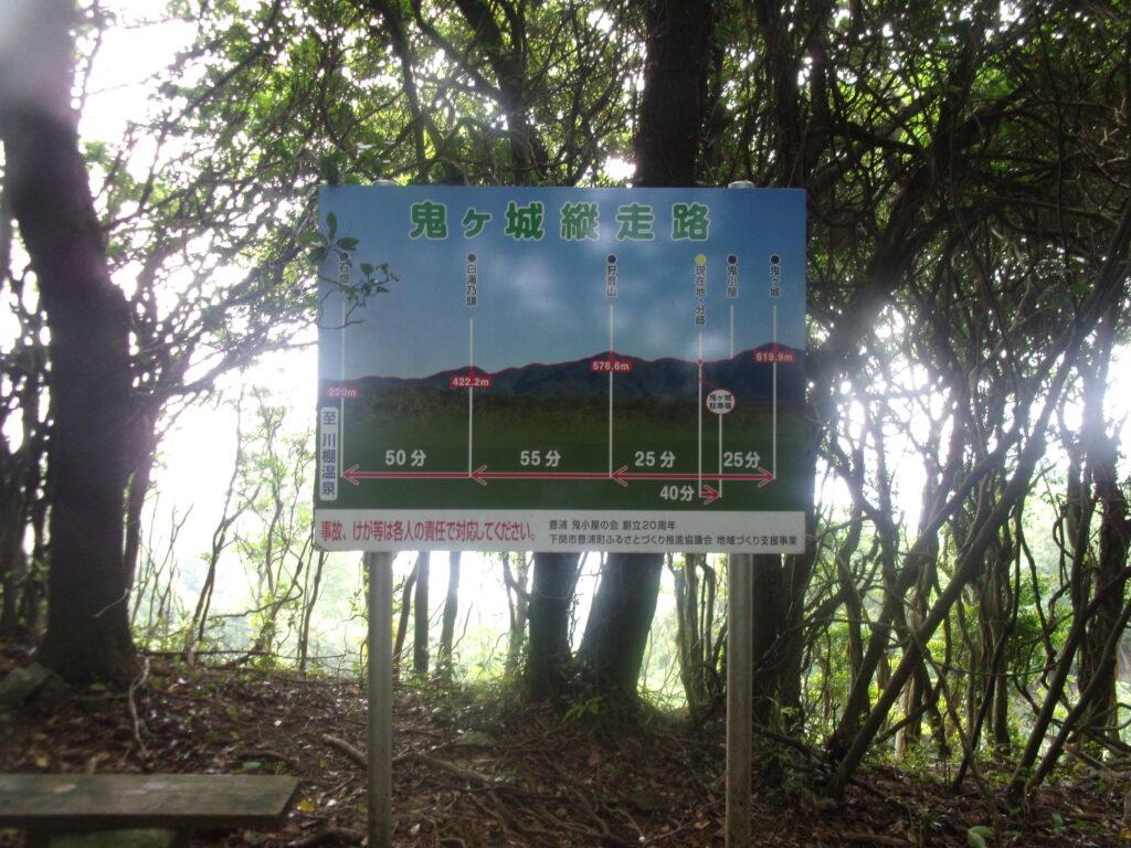 鬼ヶ城の稜線に縦走路の看板