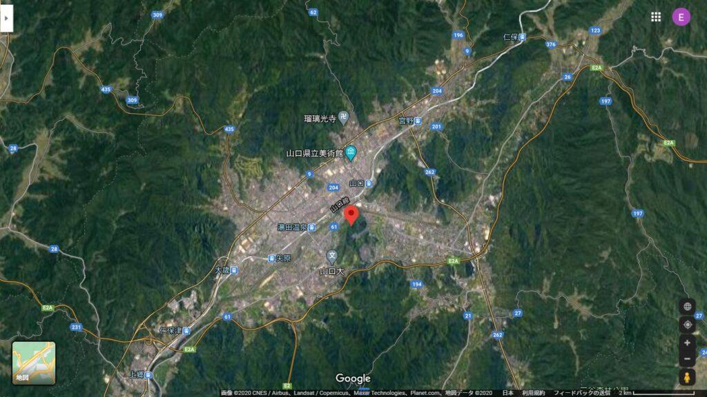 山口市内と姫山の位置関係