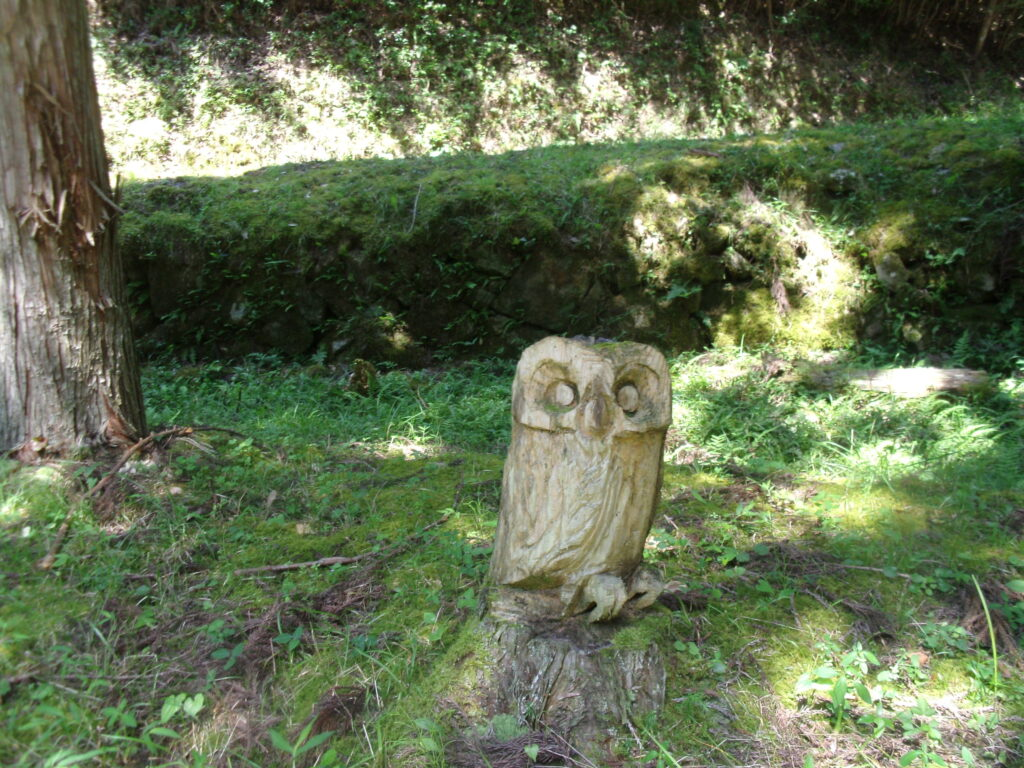 水源涵養林駐車場 切り株の彫刻