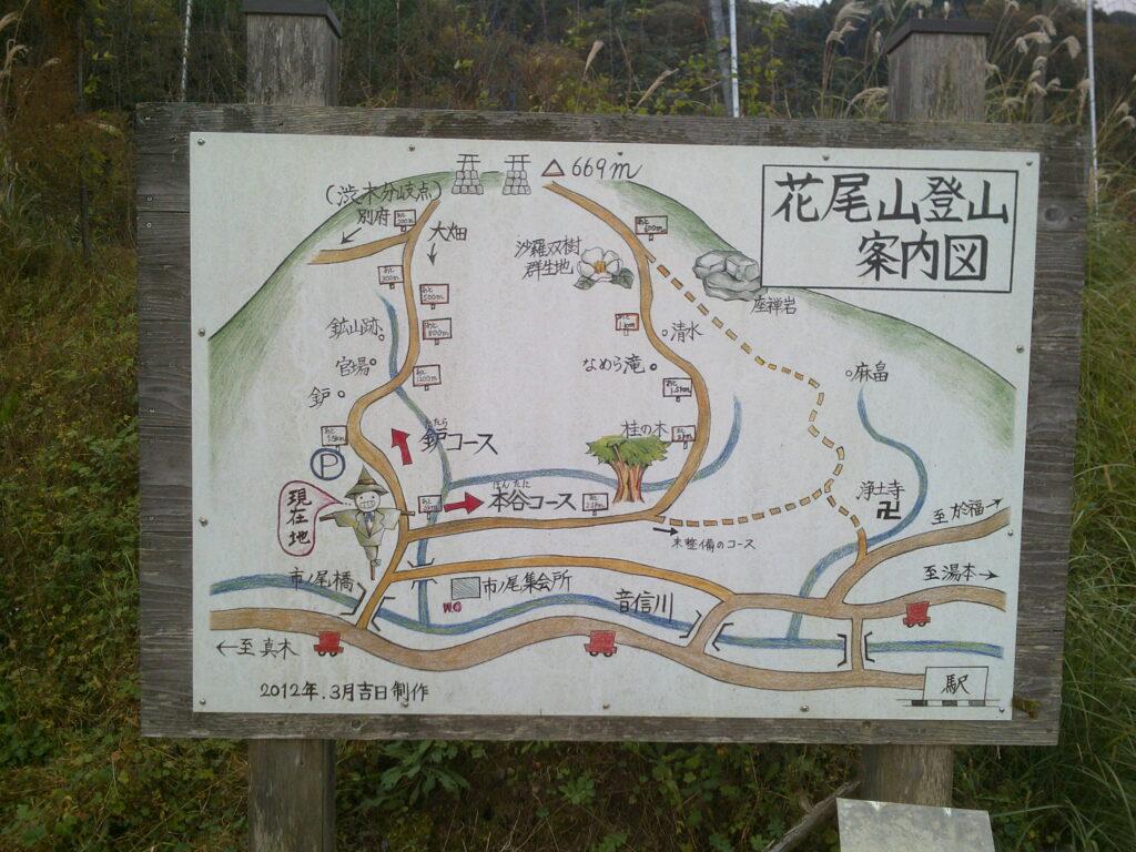 花尾山登山案内板