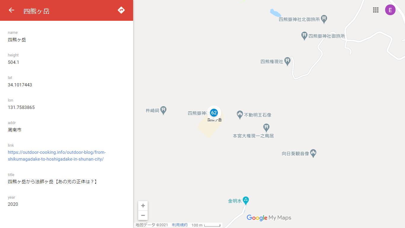 山口県百名山マップ2020 四熊ヶ岳