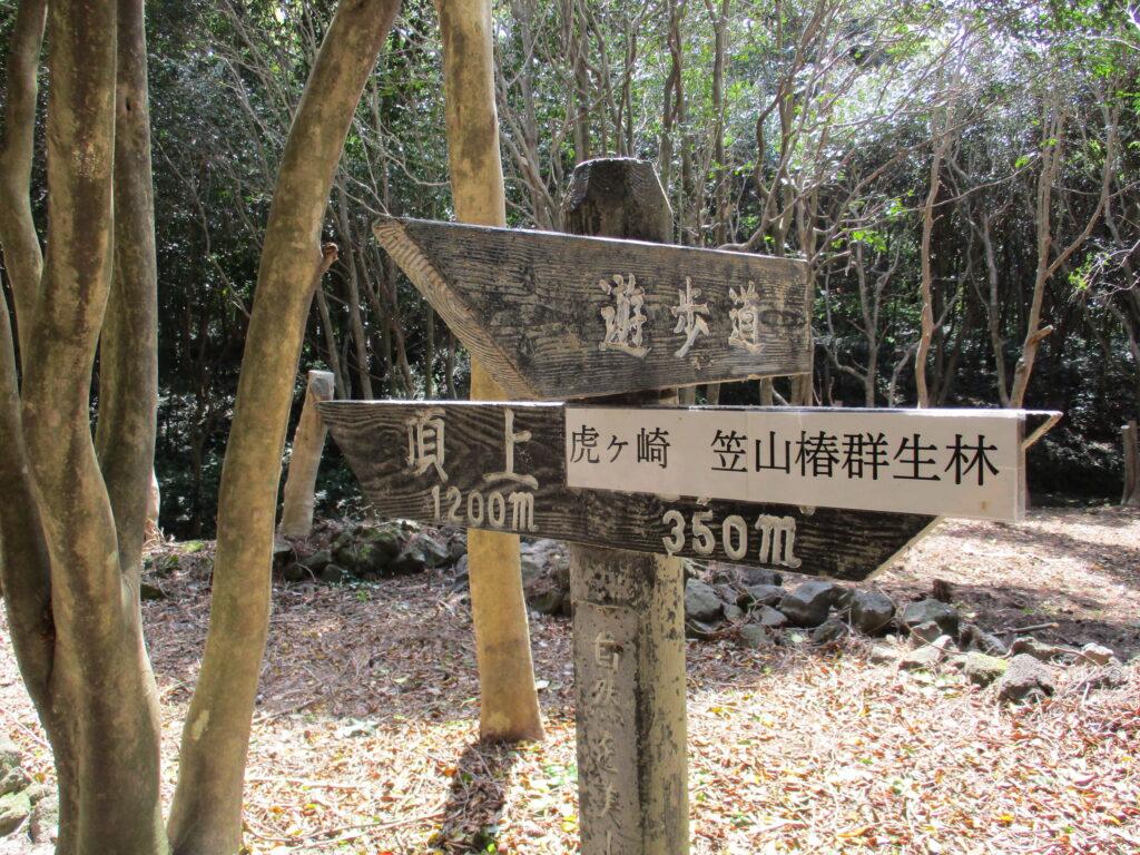 笠山頂上への道標