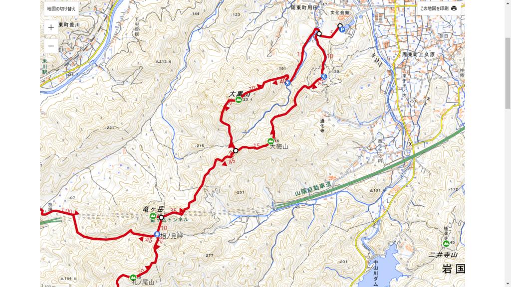 YAMAPの大梅山・竜ヶ岳・大黒山コース図