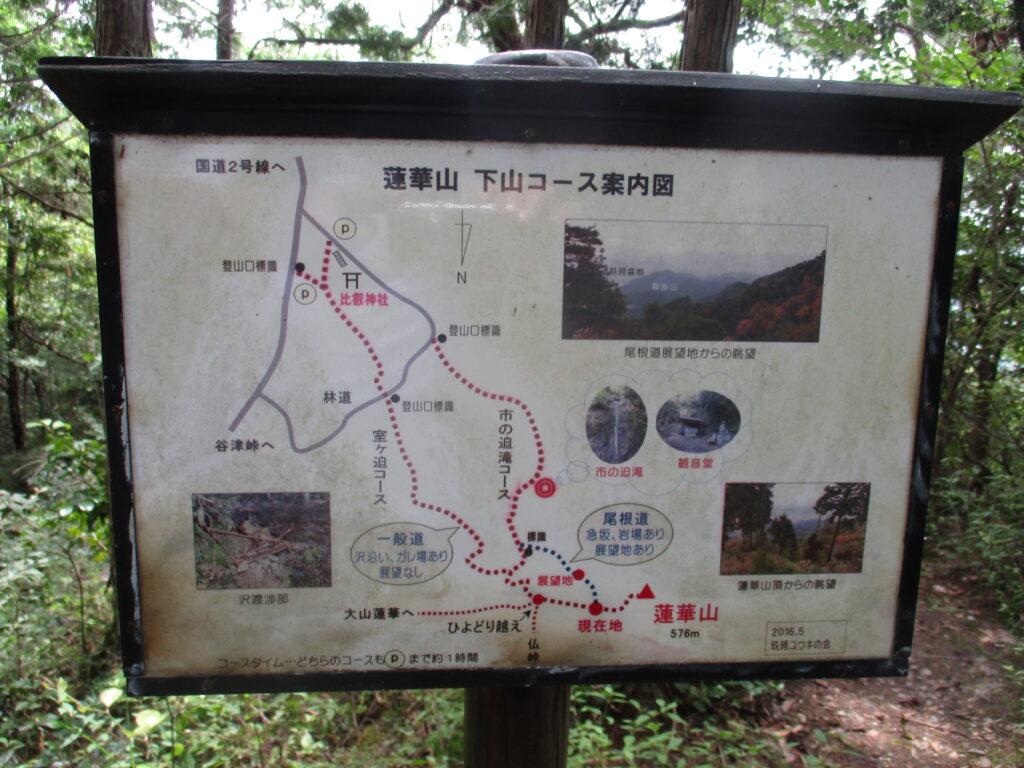 下山コース案内図を発見