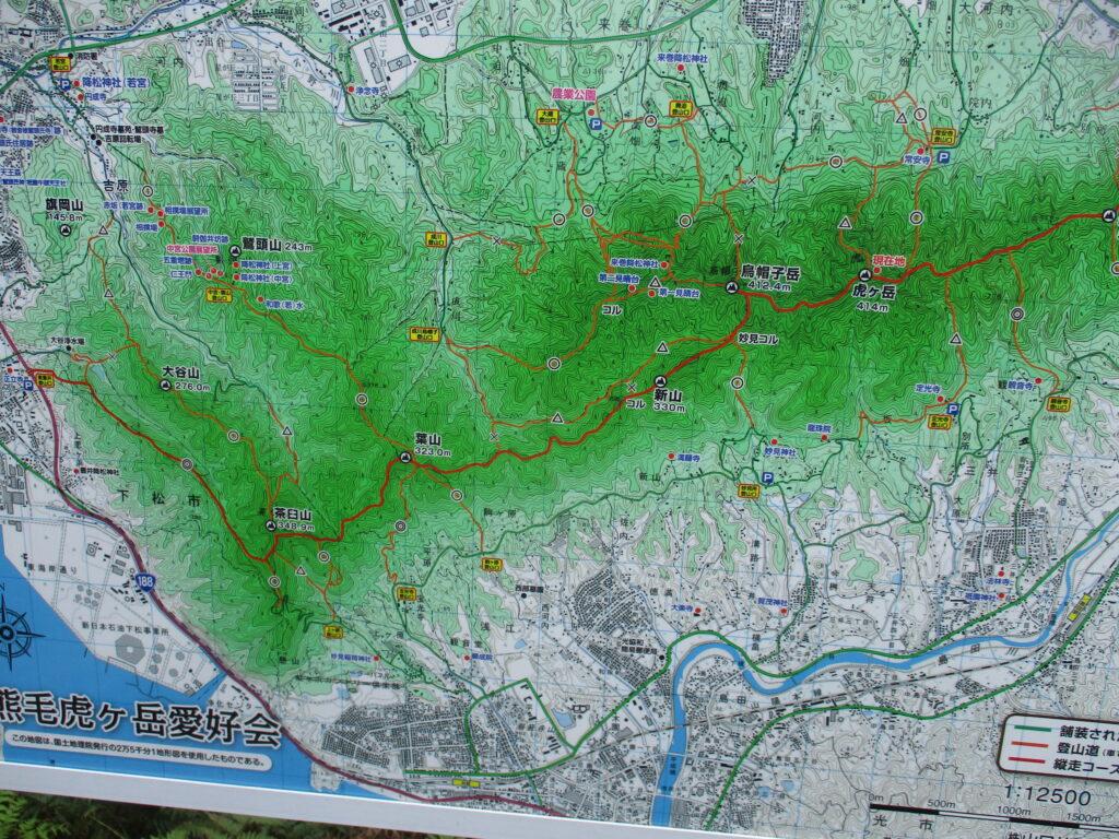 周南アルプスのコース図